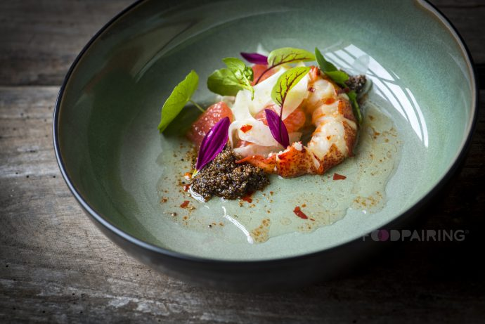 Lobster Salad with Spiced Pink Grapefruit, Peppers, Fennel and Quinoa