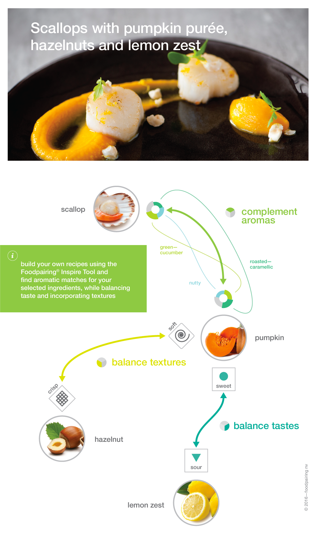 aromas, tastes, textures dimensions of a recipe—Foodpairing
