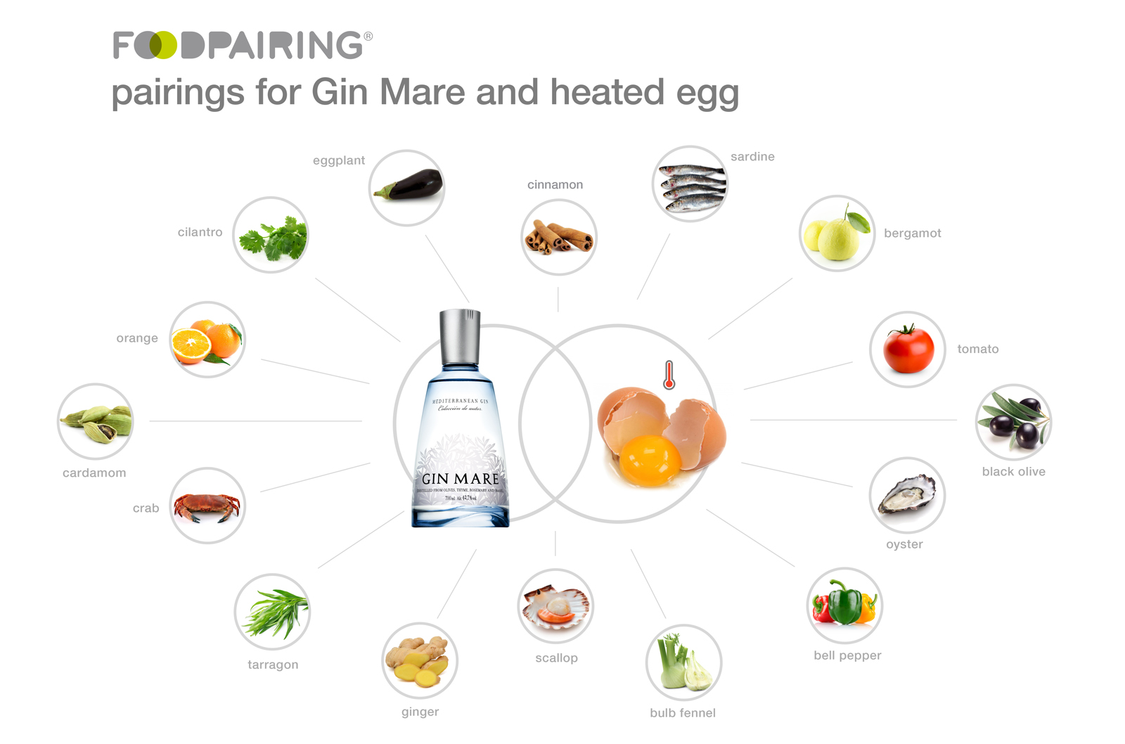 pairings for Gin Mare and heated egg for the Mediterranean Inspirations cocktail competition