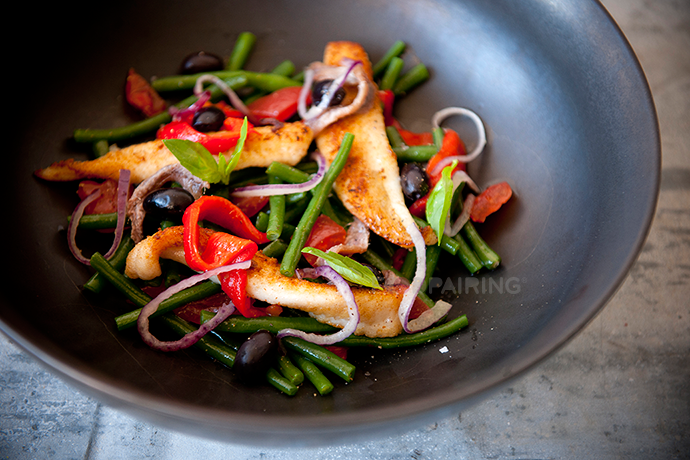 Cod Salad with green beans, anchovies, peppers and olives