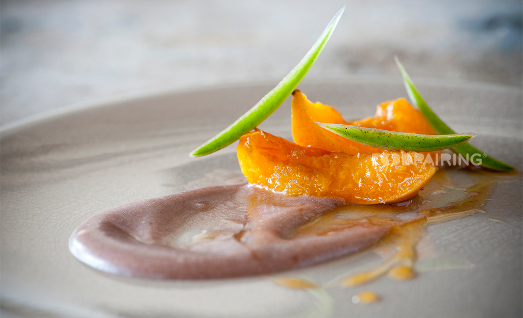Poached apricots with Japanese koshian cream and coffee caramel